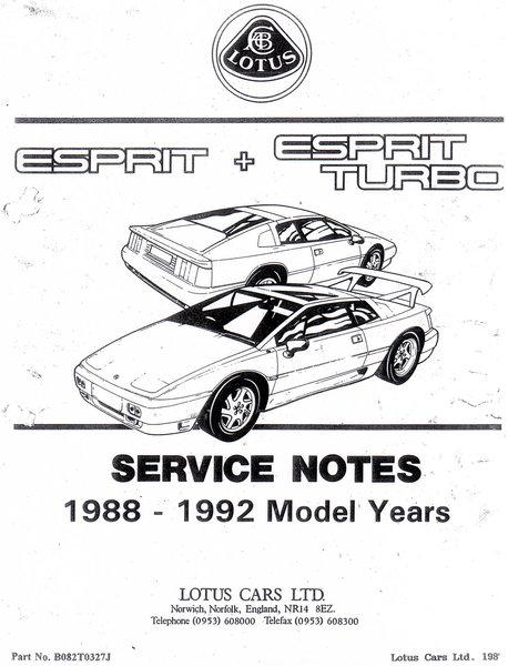 lotus esprit turbo service notes
