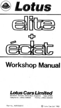 Lotus Elite/Eclat Workshop Manual