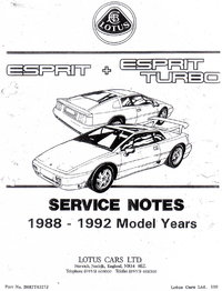 Lotus Esprit Turbo Service Notes