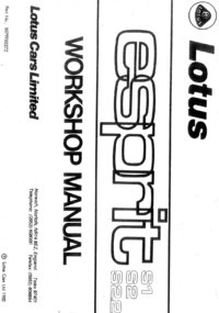 Lotus Esprit Workshop Manual
