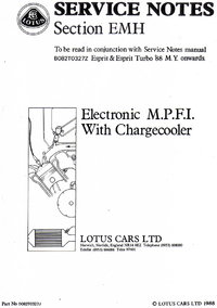 Lotus Esprit Service Notes Section EMH