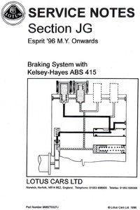 Lotus Esprit Service Notes Section JG
