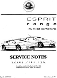 Lotus Esprit Service Notes 1993 M.Y onwards