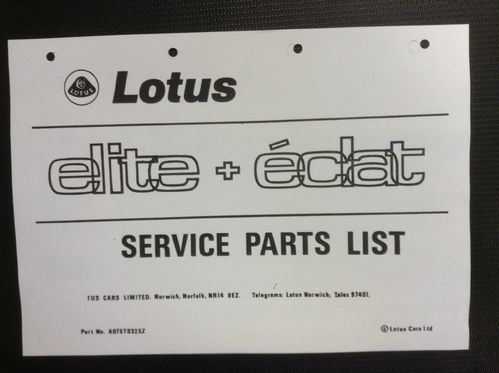Lotus Elite/Eclat Service Parts List